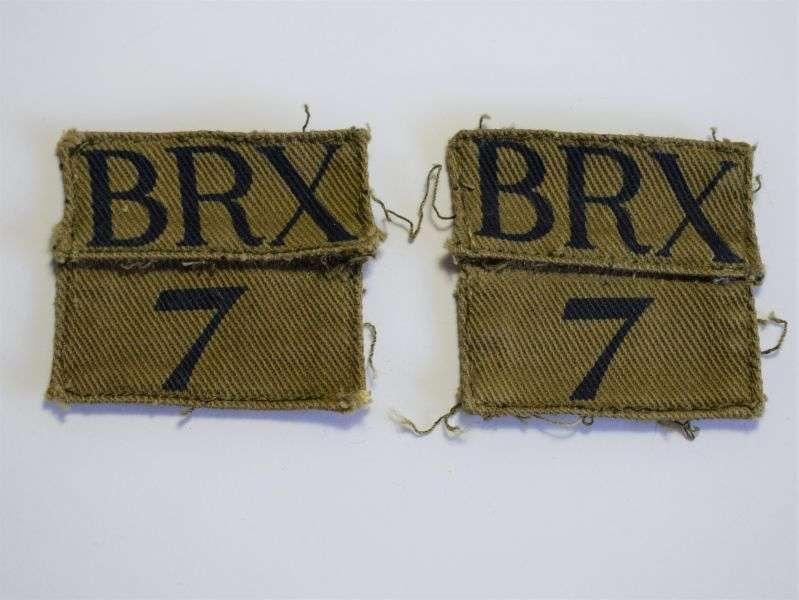 92) Good Original Uniform Removed HG Insignia BRX 7. Berkshire Reading Battalion