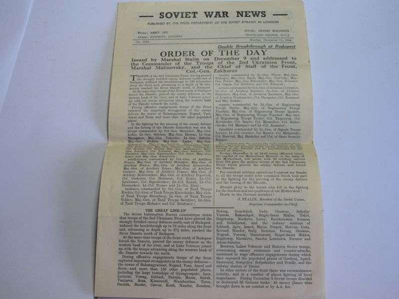 95) Original WW2 Soviet War News Paper December 11th 1944