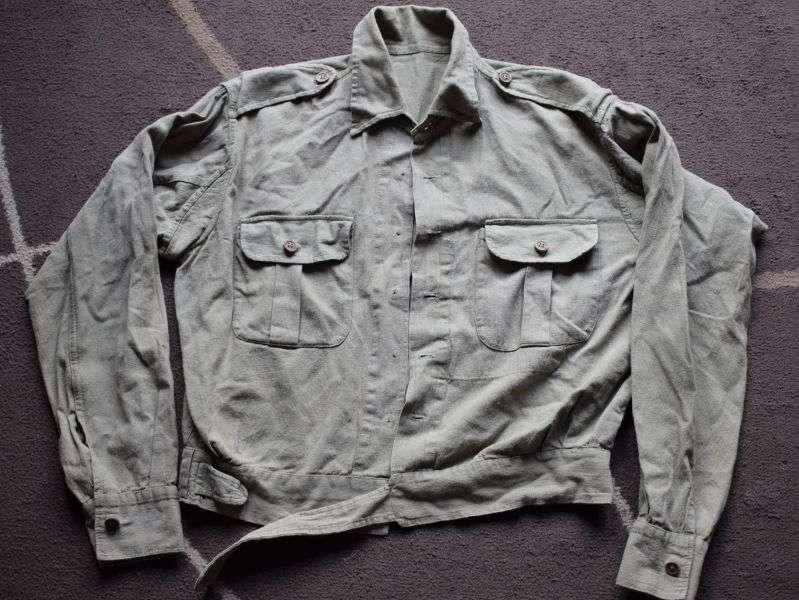 105) Original WW2 Indian made Jungle Green Aertex Battledress Blouse