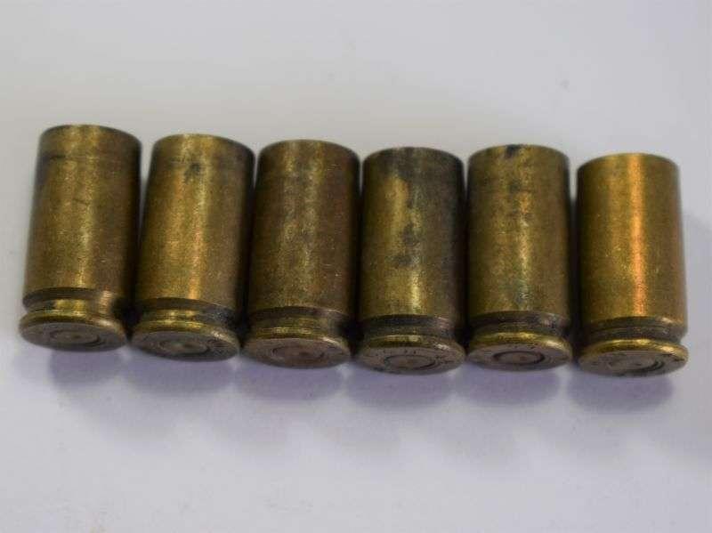 63) Set of 6 Clean Original Inert 9mm Pistol Shell Cases 1944
