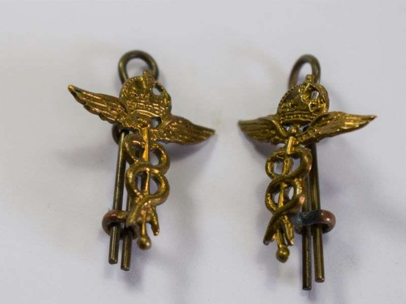 64) Good Original WW2 RAF Medical Branch Collar Insignia Pair