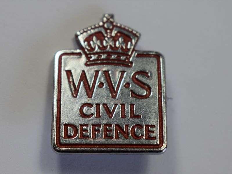 37) Original WW2 WVS Civil Defence Cap & Breast Badge