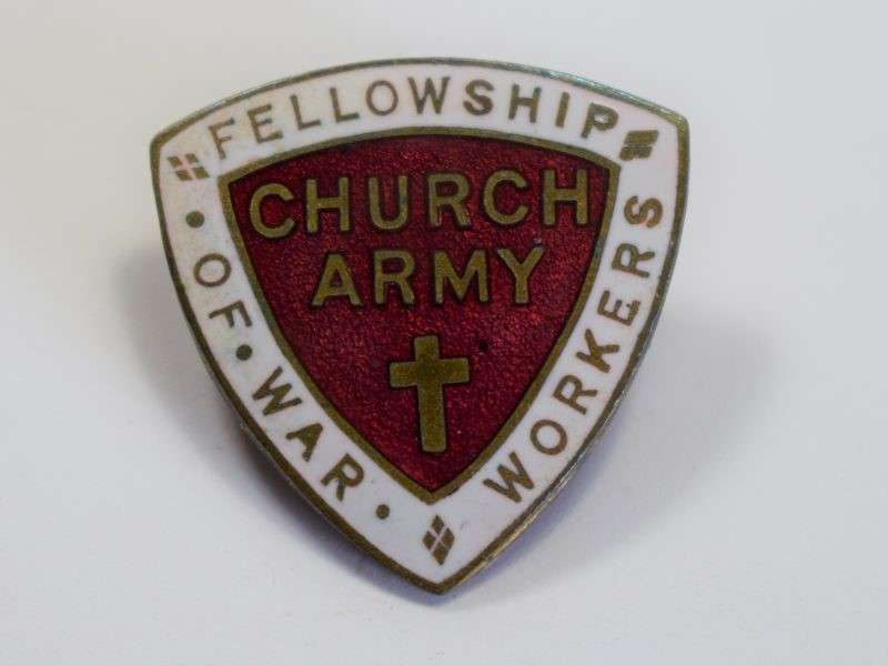 38) Original WW2 Church Army Fellowship of War Workers Enamel Badge