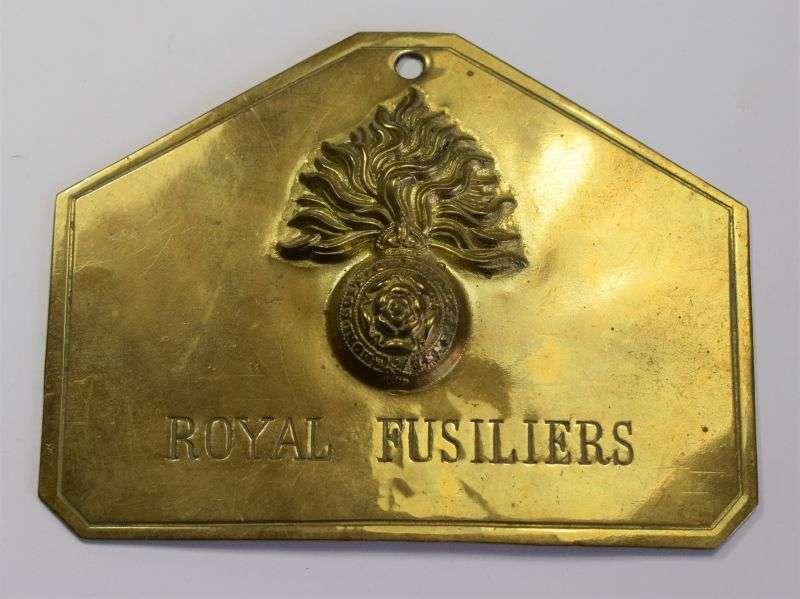 46) Original WW1 WW2 Royal Fusiliers Brass Duty Plate