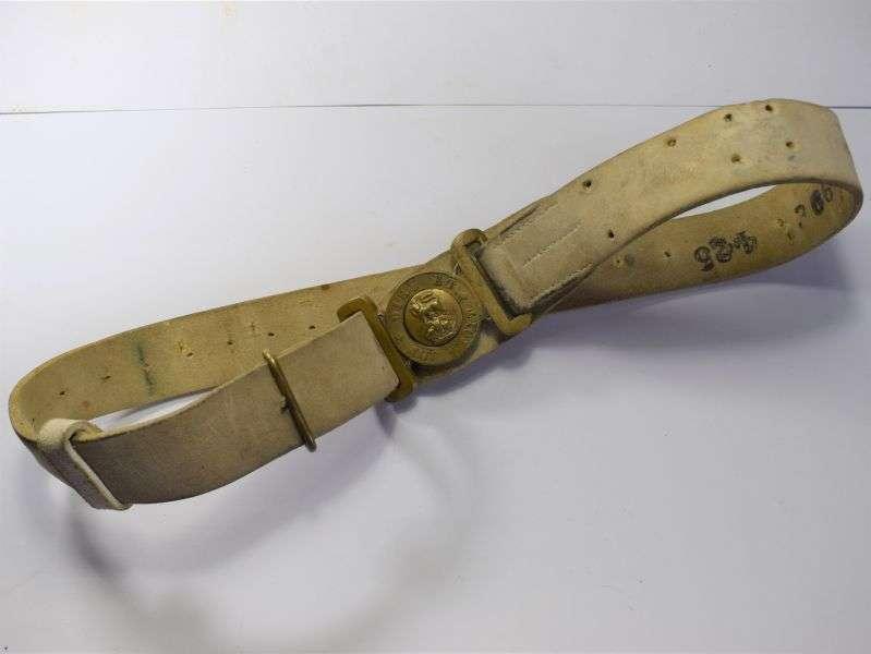 82) Excellent Original WW1 WW2 White Buff Leather Belt & GS Buckle