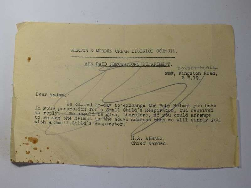 153) Interesting Wartime Home Front ARP Letter To Exchange Baby's Respirator