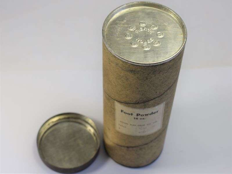 16) Original Large 16oz Card Container of Foot Powder. Unissued & Dated 1940