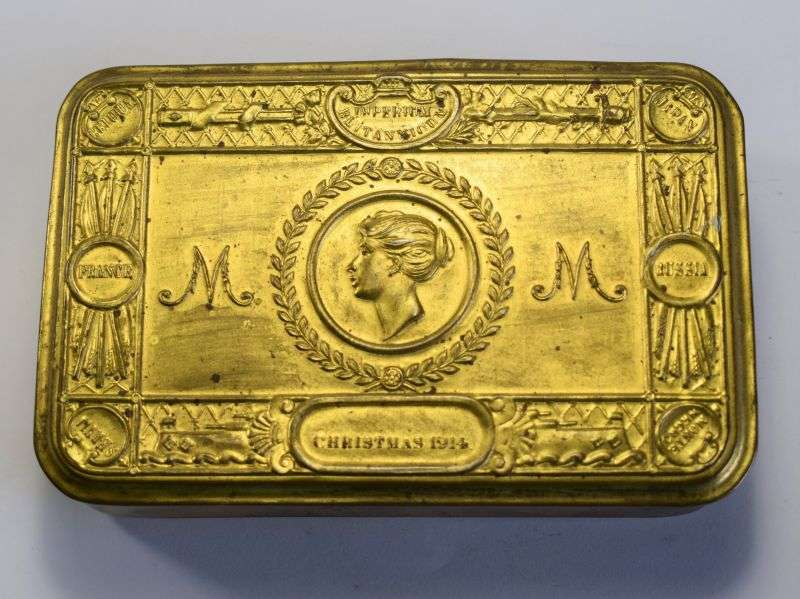19) Good Original WW1 British Princes Marys Gift Fund Tin Christmas 1914