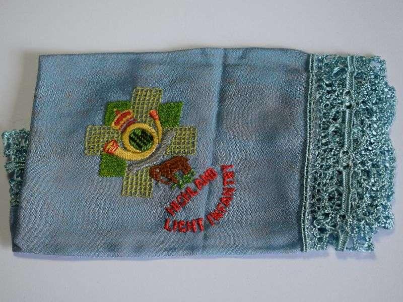 163) Very Nice WW1 WW2 Purple Sweetheart Hanky to The Highland Light Infantry