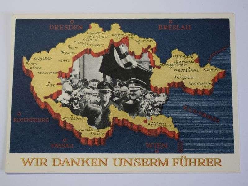 166) Original Nazi German Post Card Wir Danken Unserm Fuhrer 1938