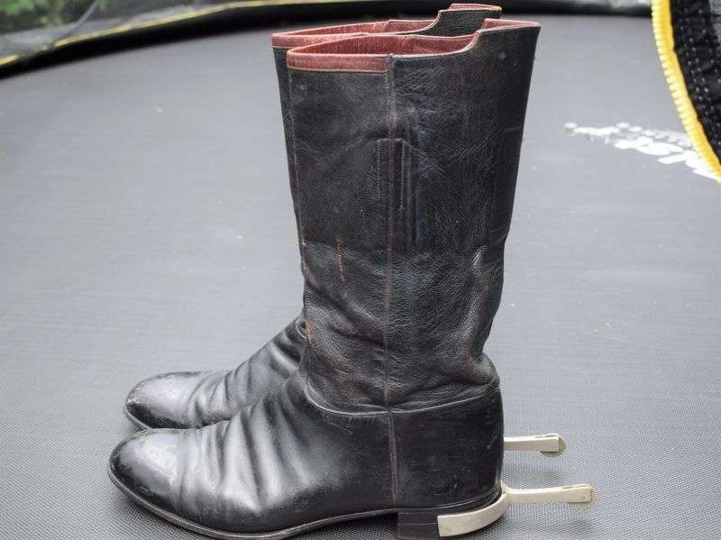 177) Vintage British Army Officers Dress Boots With Spurs Wellington Boots