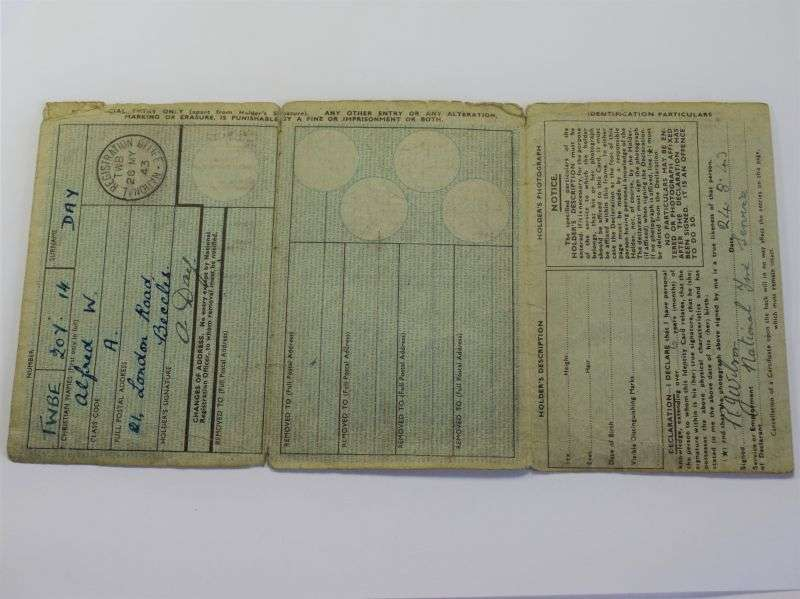 54) Original WW2 NR ID Card to A.W.Day of Beccles National Fire Service 1943