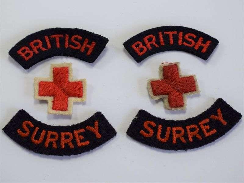 58) Original WW2 British Red Cross Cloth Insignia Set for BRCS Surrey