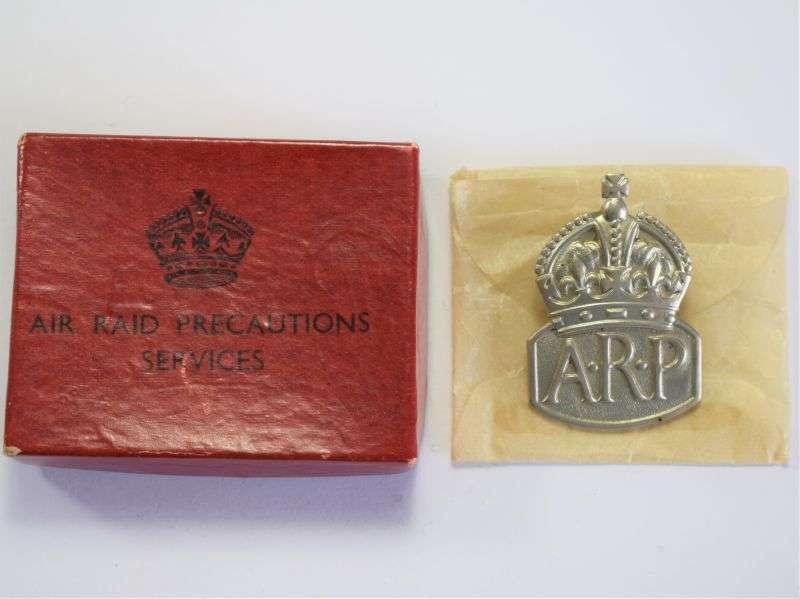 59) Unissued Less Common WW2 White Metal ARP Badge & Smaller ARP Issue Box
