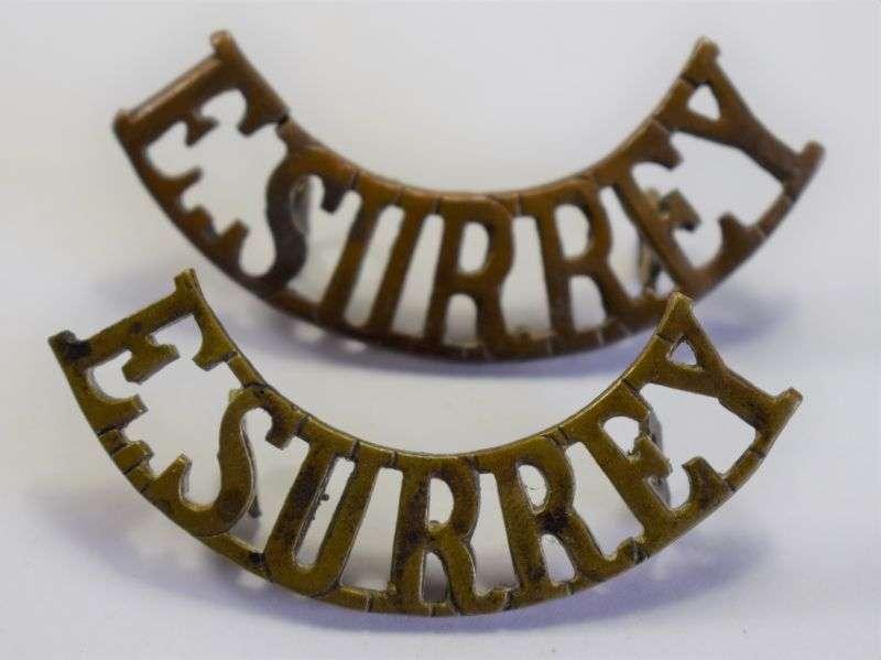 83) Original WW1 WW2 British Army E Surrey Brass Shoulder Title Pair