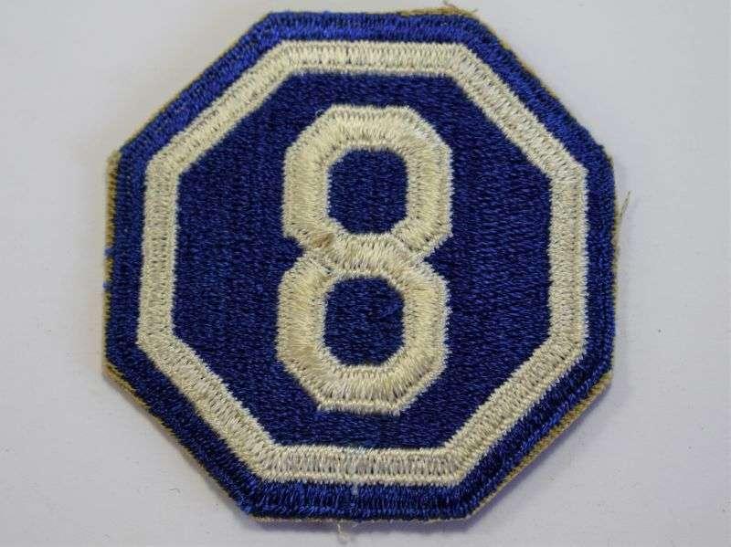 104) Original Used WW2 US Army 8th Army Corps Cloth Badge