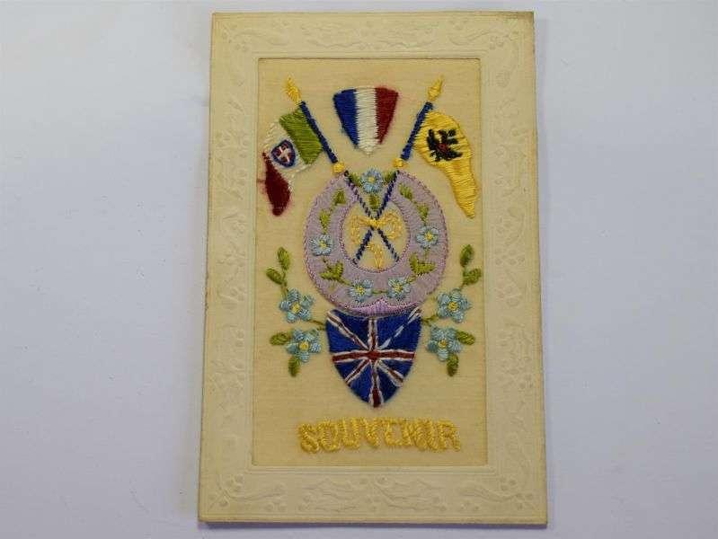 106) Nice Original WW1 Silk Souvenir Postcard Sold To Troops in France