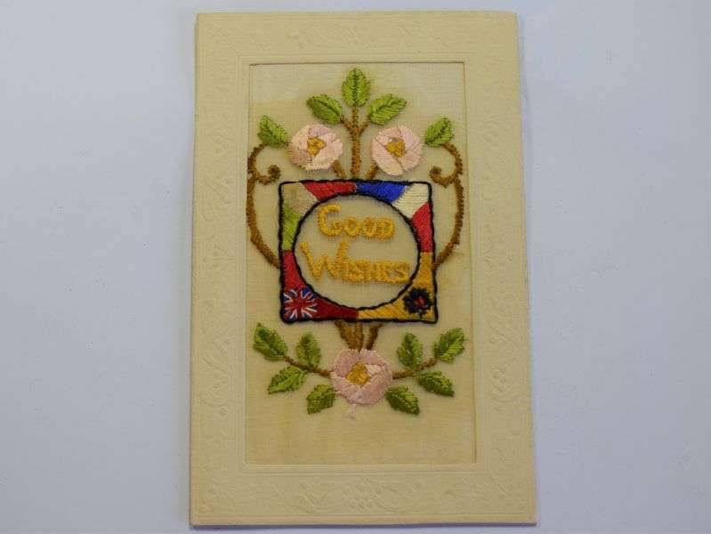 107) Nice Original WW1 Silk Good Wishes Postcard Sold To Troops in France