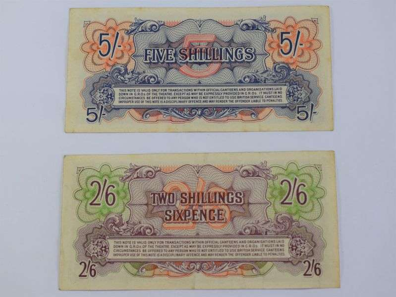 135) Original 1950s? British Armed Forces Bank Notes 5 Shillings & 2/6