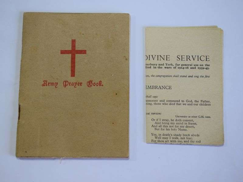 143) WW2 British Army Prayer Book & Remembrance Day Service Sheet