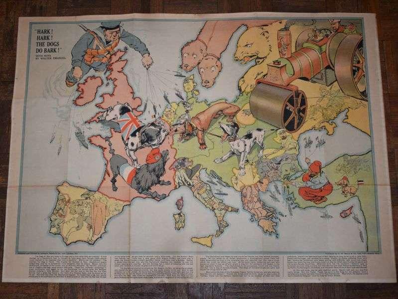 126) Original Hark! Hark! The Dogs Do Bark! WW1 British Political Propaganda Map