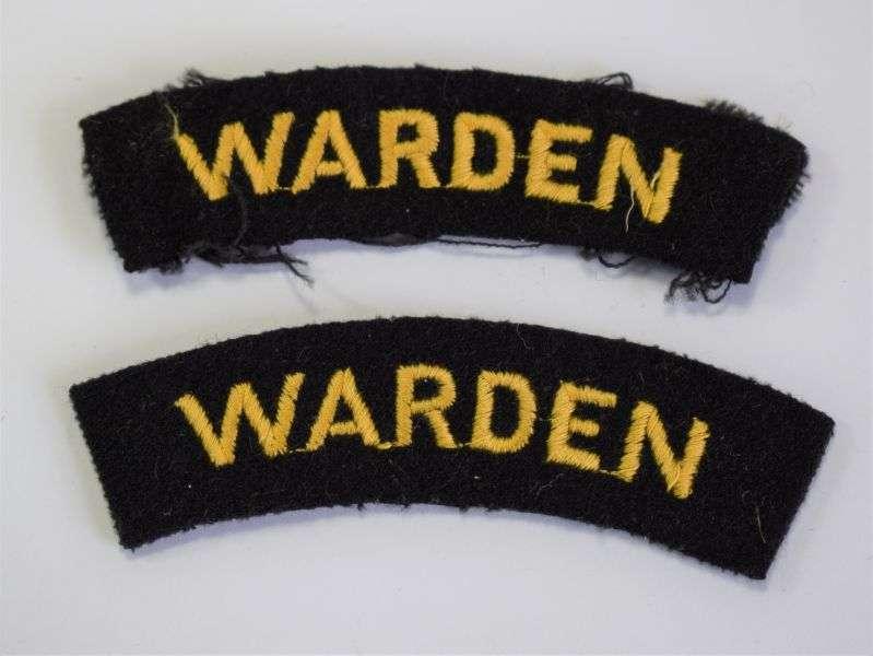10) Original WW2 Era ARP Warden Woven Cloth Shoulder Titles
