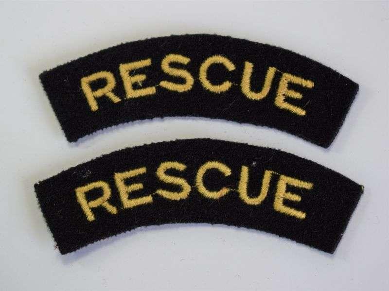 12) Original WW2 Era ARP Rescue Woven Cloth Shoulder Titles