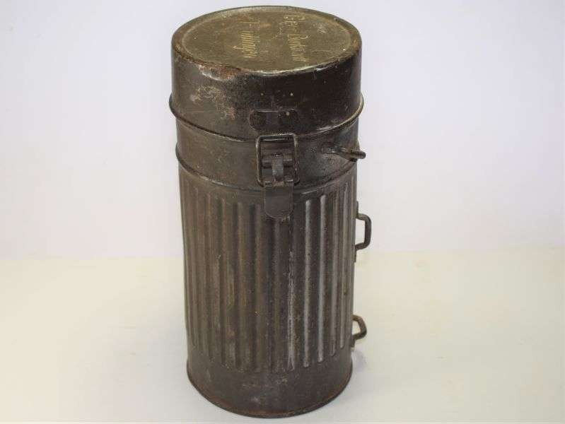 26) Excellent Original Early German Army Gas Mask Tin with ID. Dated 1934