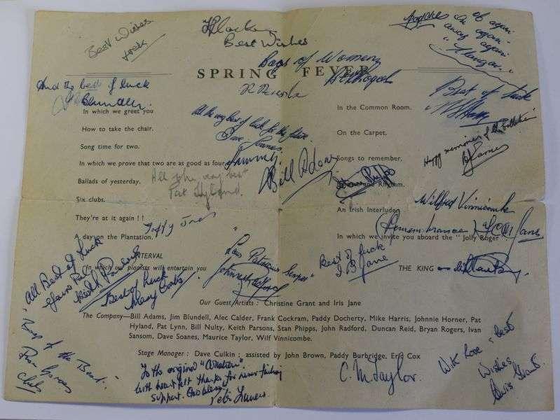 46) Post WW2 RAF Collaton Cross Medical Rehabilitation Unit Signed Programme