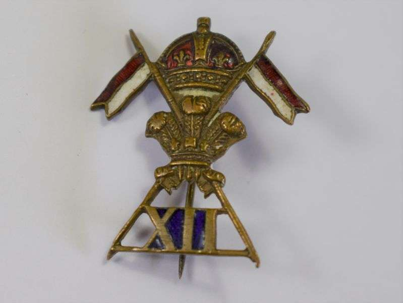 49) Nice WW1 WW2 Small Enamel Sweetheart Brooch 12th Royal Lancers