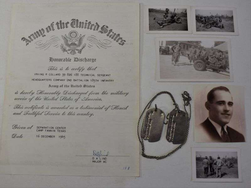 71) WW2 Dog Tags, Discharge Papers & Photos to Irvin R.Collard US Army
