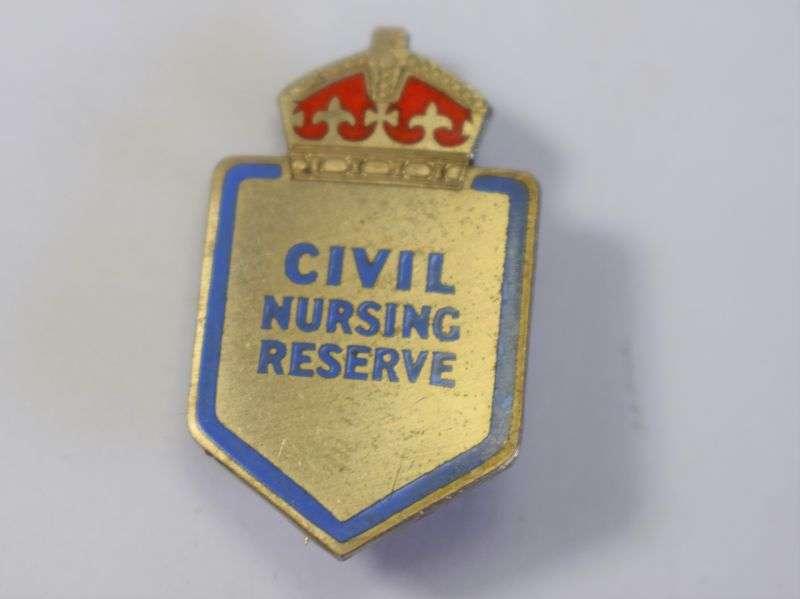 93) Original WW2 Civil Nursing Reserve Pin Badge