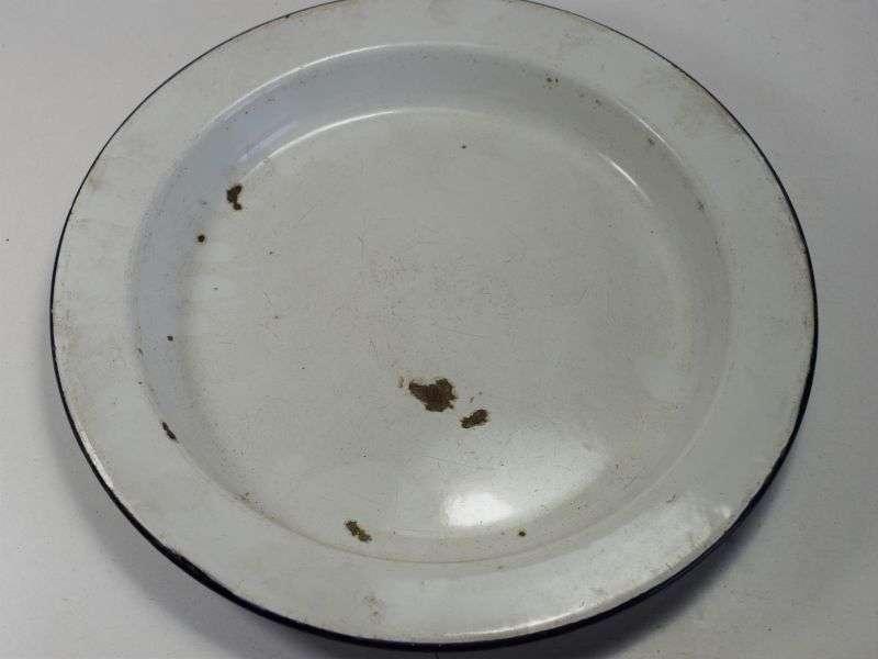120) Original WW1 Pat British Army Blue Edged White Enamel Plate