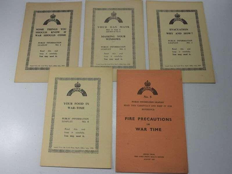 122) Set of 5 WW2 Civil Defence Public Information Leaflets 1939