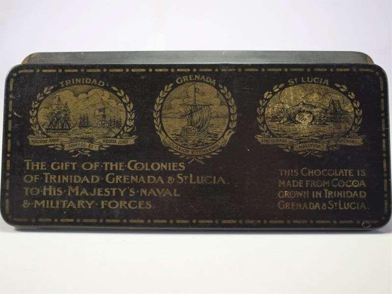 1) Original WW1 Gift Tin of The Colonies of Trinidad, Grenada & St Lucia