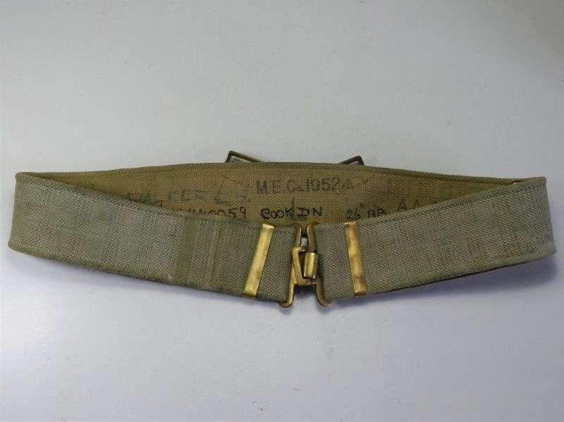 3) Post WW2 British 37 Pattern Web Belt Size Large MECo 1952