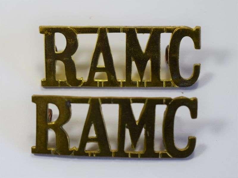 38) Original WW1 WW2 Royal Army Medical Corps Shoulder Title Pair