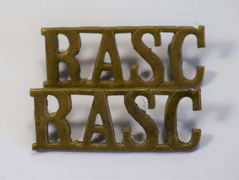 42) Original WW2 Royal Army Service Corps Shoulder Title Pair