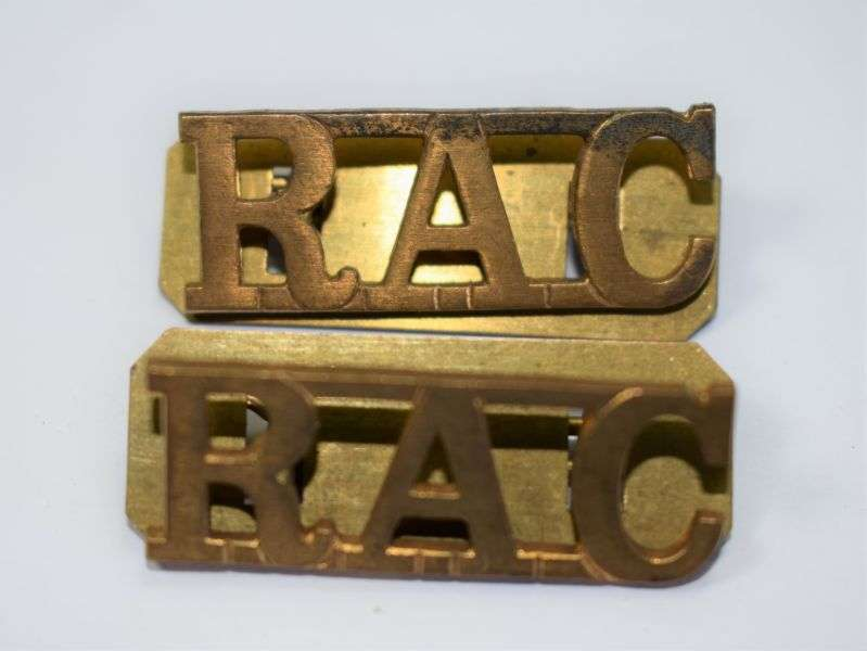 47) Original Officers Royal Armoured Corps Shoulder Title Pair