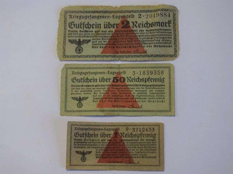 70) Group of 3 Original WW2 German POW Camp Bank Notes
