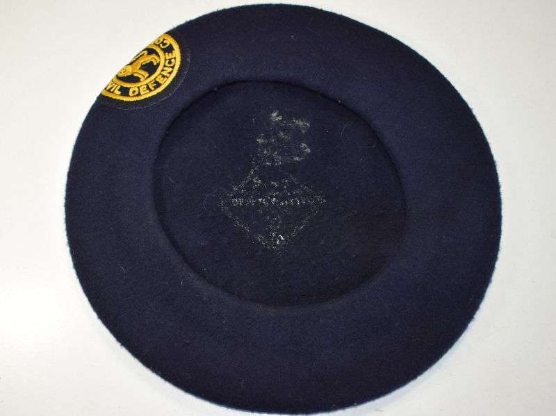 6) Excellent WW2 Pattern Civil Defence ARP Beret & Post War Badge