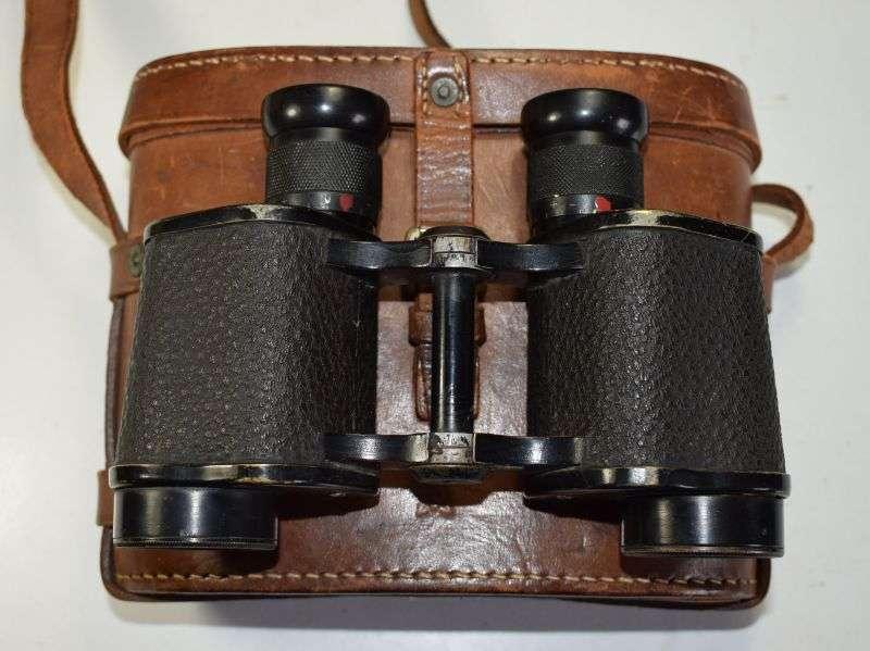15) WW2 RAF Issue 6X30 Binoculars & Leather Case AM 1942