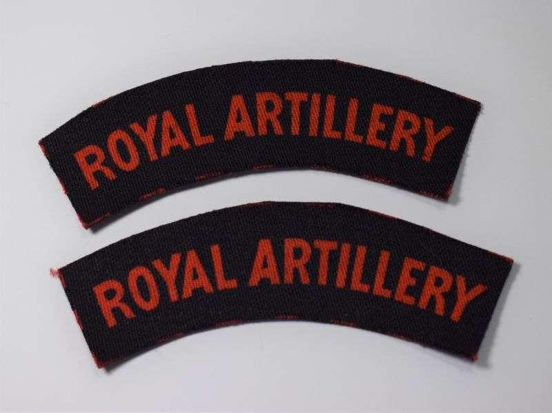 32) Original WW2 Royal Artillery Printed Shoulder Title Pair