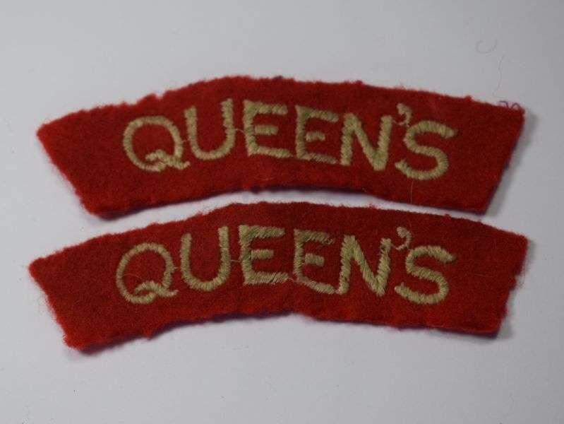 43) Good Original Royal West Surrey Regt Queens Cloth Shoulder Titles