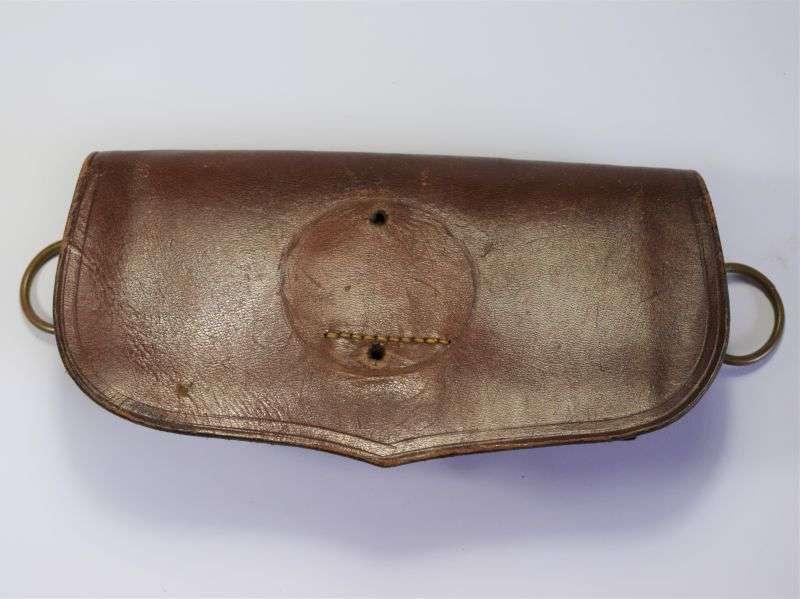 104) Excellent Original WW1 WW2 Brown Leather Cross Belt Pouch