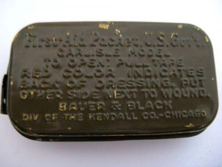 WW2 US Army Issue First Aid Dressing Tin & Contents