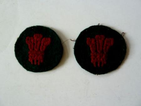 Original WW2 North Wales District Cloth Insignia Pair