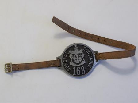 82) Vintage WW1 Era Special Constable 168 Police Arm Badge Wolverhampton Police