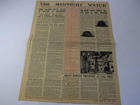149) Original WW2 Fire Guard & CD Workers Broadsheet The Midnight Watch No15
