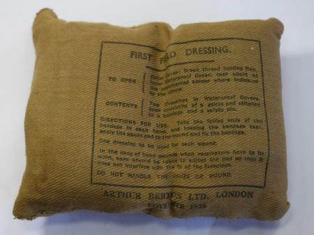 161) Original WW2 British Army Issue First Field Dressing 1938